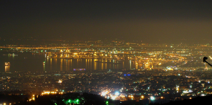 Thessaloniki Night Panoramic View